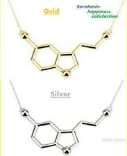 2x MOLECULE CHARM NECKLACE  Pendant SEROTONIN, Gold/Silver plated (Lot of 2)