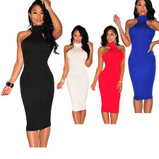 Sexy women ladies Mock Neck Key-Hole Back Dress black white red blue club party