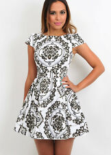 Black & White Skater Dress Paisley Print Pattern Casual Sleeves Vintage