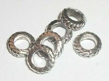 Antique silver plated pewter 7mm carved ring  spacer beads -- 130 pieces (0190)