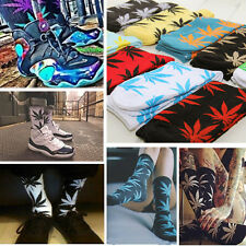 Women Men Harajuku Marijuana Weed Leaf Crew Plant Life Cotton Sport High Sock