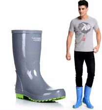 mens rubber flat waterproof shoes round toe motorcycle rain boots mid-calf