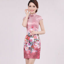 2018 elegant Chinese fashion short improved cheongsam silk dress Peach Pink
