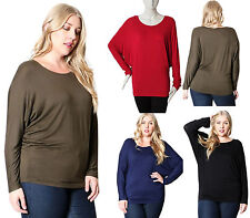 Plus Sexy Boat Neck Long Slv Rayon Dolman Top Casual Stretch Comfortable Shirts