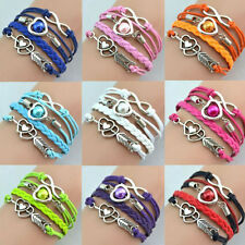 Fashion Infinity Love Heart Friendship Antique Silver Leather Charm Bracelet new