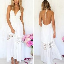 Sexy Womens Summer Lace Long Maxi Evening Party V-neck Backless Dresses Sundress