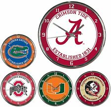 """NCAA Chrome Wall Clock 12"""" Officially Licensed Pick Your Team"""