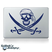 Jolly Roger Pirate Skull with Bandana Vinyl Decal - fits laptops sticker K600