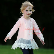 1PC Girl T-Shirt Flower Lace Tulle Tops With Necklace Kids Spring Cotton Blouse