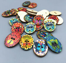 Vintage wooden buttons Sewing Oval Butterfly Craft Decoration Handmade DIY 29mm