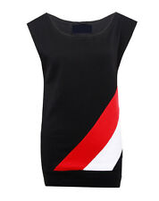 Womens/Ladies/Girls Off the Shoulder White And Red Stripe Sleeveless Top T/Shirt