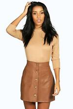 Boohoo Womens Lorena Buttom A Line Leather Look Midi Skirt