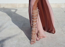NEW Izoa Egyptian Blush suede Gladiator lace up boots