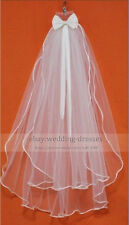 Ivory/White Wedding veil bridal Vail mantilla 2T Elbow bowknot Vcurls veil+Comb