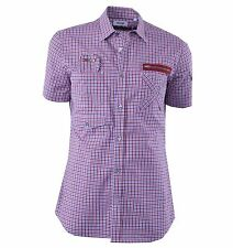 """MOSCHINO Checked Cotton Short Sleeves Shirt """"Survival Jacket"""" Red Blue 04363"""