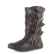 Womens Ladies Blowfish Olin Brown Old Saddle Buckle Wide Calf Flat Boots Sz Size