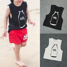 New Baby Crew Neck Tank Tops Tee Sleeveless Shirt Toddler Boys Girls Vest LS