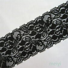 1/5/10 Yards Vintage Black Stretch Flower Lace Trim Ribbon Wedding Sewing Craft