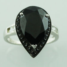 Black Spinel,White Topaz 925 Sterling Silver Right Hand 3.44 ctw Ring GSR1217