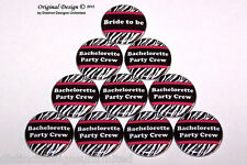 Zebra Print & Pink Bachelorette Party Crew Favors Pin Back Buttons - 10 Pack