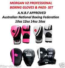 10oz 12oz 14oz 16oz BOXING GLOVES PUNCH PADS FOCUS MITTS MORGAN LEATHER SET NEW
