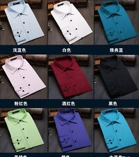 Large size 9colors Solid business shirt man Slim casual Long sleeve Dress shirts