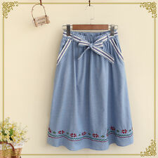 Japanese Mori Girl Vintage Embroidery Loose Casual Preppy Look Bow Bust Skirt