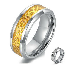 SZ 6-12 Wedding  Rings Stainless Steel  Dragon  Men New Fashion Gold Silver