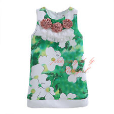 Fashion Green Flower Summer Girl Dress Princess Birthday Wedding Party Sundress