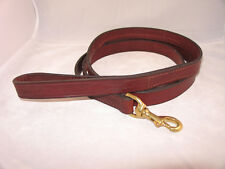"""6 Ft. x 7/8"""" Amish Made Leather Dog Leash: Brown or Black w/ Brass or Stainless"""