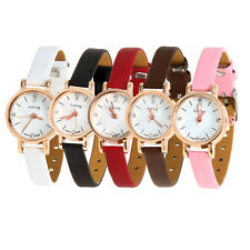 Women Ladies Leather Crystal Bracelet Quartz Analog Dress Wrist Watch Fashion