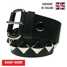 38mm Black Diagonal Pyramid 100% Real Leather Made In England Press Stud Belt