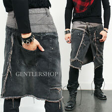 Mens Fashion Vintage Distressed Half Denim Lap Skirt, GENTLERSHOP