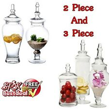 Large Classic Clear Glass Apothecary Lid Jars Storage Wedding Candy Nuts Buffet