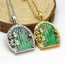 Green Hobbit Door Locket Pendant Chain Necklace Movie Jewelry