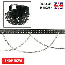 38mm Black Spike Roller Buckle Double Chain Real Leather Belt Made In England