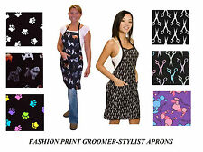 FASHION PRINT Grooming Stylist Barber Water,Hair&Stain Resistant APRON Smock Bib