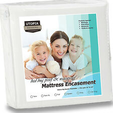Deep Pocket Mattress Protector Bed Bug Water Proof Pad Zippered Bedding Cover