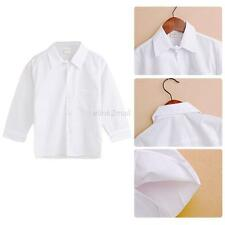 White Kid Boy Lapel Buttons Front Tee Toddler Baby Shirt Tee Ouffit Formal Shirt