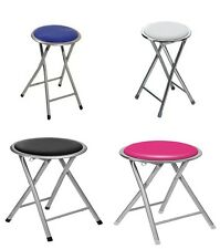 FOLDING ROUND STOOL SILVER FRAME SOFT PADDED KITCHEN SEAT CHAIR FOLDABLE TALL