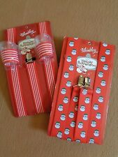 MENS WEMBLEY CHRISTMAS HOLIDAY SUSPENDERS~RED STRIPE W/SHOT GLASSES~RED W/SANTAS