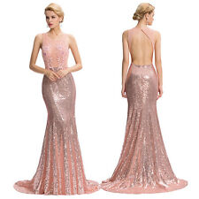 Long Backless Sequined Ball Gown Evening Prom Party Formal Bridesmaids Dress