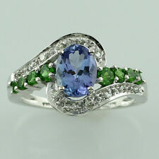 Solid Gold Tanzanite,Chrome Diopside,Diamond Right Hand Fancy Ring GSR1122