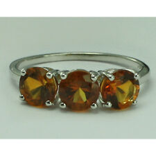 Solid Gold Madeira,Citrine Three Stone Ring GSR414