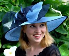 NEW Women's Kentucky Derby Hat Wide Brim Two Tone Sinamay Straw and Satin Church