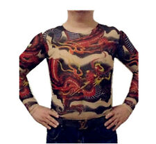 Tattoo Shirt Mesh Sleeves Temorary Arm Body Art  Sport T-Shirt Dragon ST-15