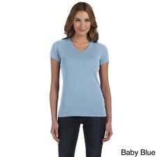 Women's Baby Rib Short Sleeve V-neck T-shirt. Delivery is Free