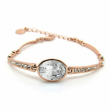 Rose-Plated Clear Crystal  Oval Pave Bracelet  made with SWAROVSKI® Crystals
