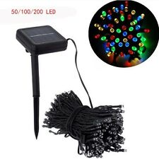 50/100/200 LED SOLAR POWERED STRING GARDEN FAIRY LIGHTS RECHARGEABLE PARTY XMAS