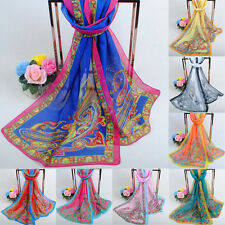 Womens Long Paisley Scarf Thin Stole Chiffon Scarves Floral Print Neck Wraps LS